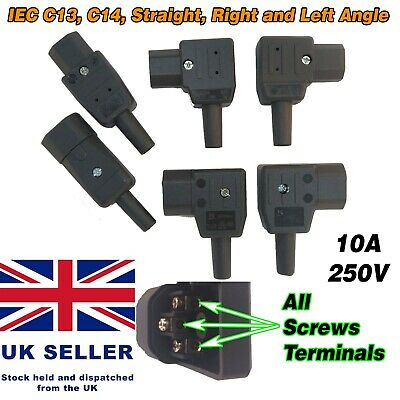 Rewireable IEC C13 C14 Connector Plug Screws Terminals Right Left Angle Elbow UK • 4.45£