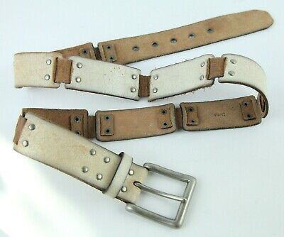 $23.80 • Buy Fossil Leather Belt Western Distressed White Crackle Finish XL Grommet Mens