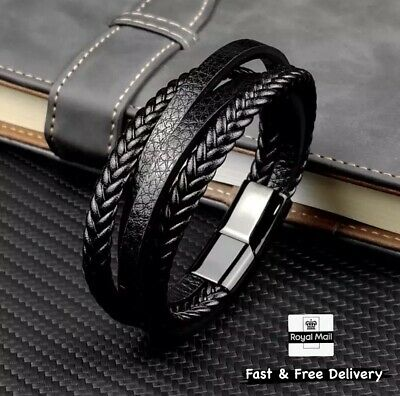 Mens Genuine Leather  Bracelet Wristband Stainless Steel Clasp Jewellery Gift • 8.49£