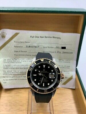 $ CDN10421.58 • Buy Rolex Submariner 16613 Black Dial 18K Yellow Gold Stainless Box Service Paper