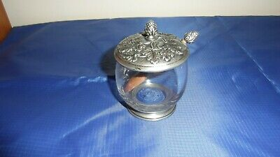 £9.50 • Buy Vintage Royal Etain 9596 Pewter And Glass Mustard/jelly Pot With Spoon