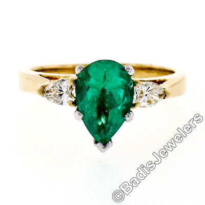 14K TwoTone Gold 1.87ct Pear Colombian Emerald Solitaire Ring W/ Diamond Accents • 1,720.65£