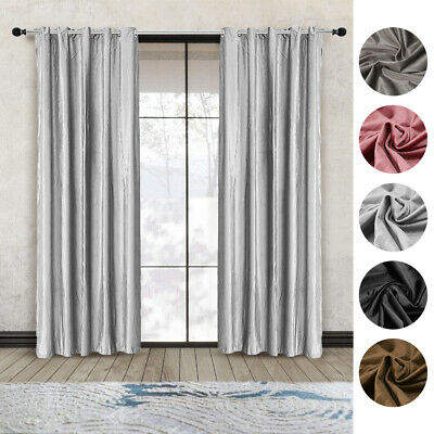 A Pair Of 66x90 Inch Crushed Velvet Curtains Eyelet Ring Top Fully Lined Ready • 24.99£