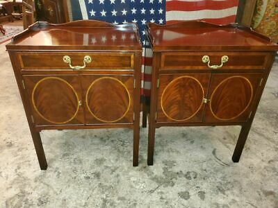 $1395 • Buy Councill Craftsmen Bed Side Tables – Flame Mahogany W/ Maple Inlay