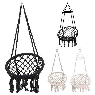 Comfort Hanging Hammock Woven Rope Swing Chair Garden Seat/Stand Outdoor Indoor • 159.54£