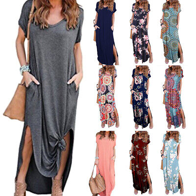 £13.49 • Buy Womens Oversized Short Sleeve Tunic T-Shirt Dress With Pockets Floral Long Dress