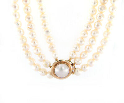 $800 • Buy Triple Strand Pearl And Mabe Pearl Clasp Necklace In 14K