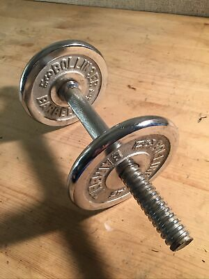 """$ CDN36.56 • Buy Lot Of 2 Vintage 3 Lbs Bollinger Chrome 1""""  Round Weight Plates With Handle"""