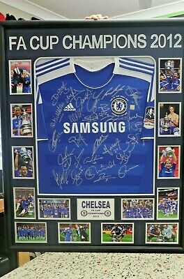 AU995 • Buy Chelsea 2012 Fa Cup Champions Hand Signed & Framed Shirt/jersey + Coa