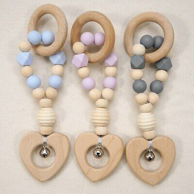£3.56 • Buy Stroller Toys Silicone Beads Beech Heart Wooden Ring Baby Teether Sensory Rattle