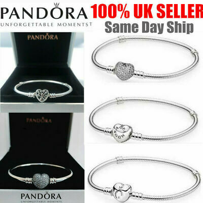 Genuine Silver Pandora Moments Heart Clasp S925 Silver Chain Bracelet Xmas Gifts • 12.69£