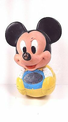 £10.97 • Buy Vintage Disney Mickey Mouse Baby Toy Weeble Roly Poly Chime Ball 1984 W Mirror
