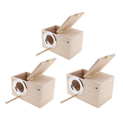 3Pcs Wooden Budgie Nest Nesting Box & Perch For Cage Aviary With Opening Top • 35.52£