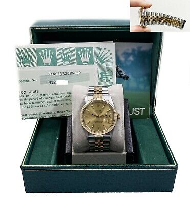 $ CDN8455.12 • Buy Rolex Datejust 16013 Champagne Dial 18K Yellow Gold Stainless Steel Box Papers