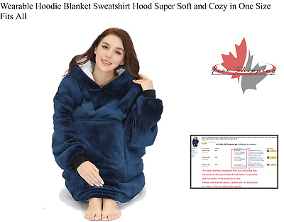 $ CDN44.93 • Buy Wearable Hoodie Blanket Sweatshirt Hood Super Soft And Cozy In One Size Fits All