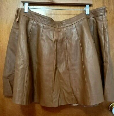 AU55 • Buy ASOS Curve Size UK22 Leather Brown Mini Skirt FITS UK18 Plus Size