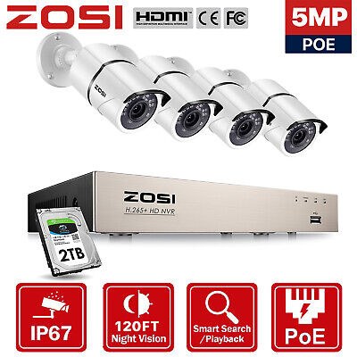 AU299.99 • Buy ZOSI 5MP HD 8CH PoE Security IP Camera System CCTV Surveillance Home Outdoor 1TB