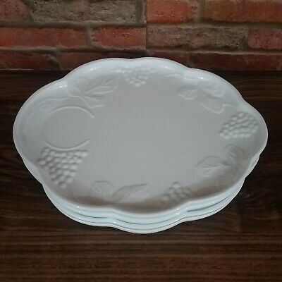 $8.99 • Buy Vintage Milk Glass Snack Trays/Plates Set Of 4 With Grapes Leaves Vines 10 X 8