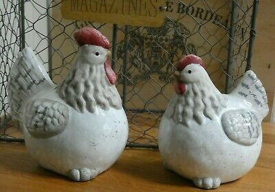 Set Of Two Ceramic Rooster And Hen Ornaments With Glazed Detailing • 18.99£