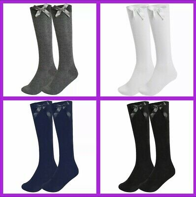 £4.99 • Buy 3 PAIRS Girls Knee High School Socks With Bow-Sizes 6-8 / 9-12 / 12-3 / 4-6 /6-9