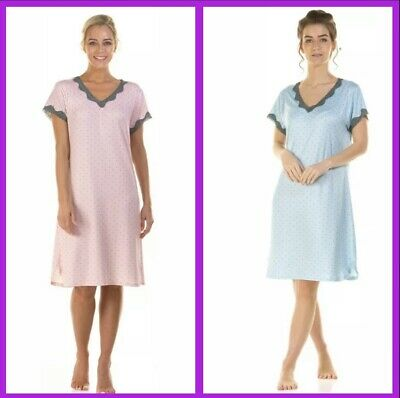Ladies Jersey Cotton Dot Short Sleeve V Neck Nightdress / Nightie By La Marquise • 14.99£
