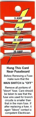 Fuse Wire Card - 5 Amp 15 Amp 20 Amp 30 Amp - Free Postage • 2.30£