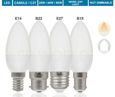 £9.99 • Buy 4 6 10 20 Pack LED Candle Bulb Candle E14 Small Edison Screw Cap Warm Daylight