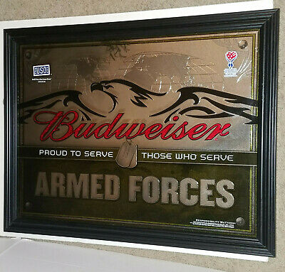 $ CDN252.57 • Buy Budweiser United States Armed Forces Mirror (new) Eagle And Dog Tags Beer Sign