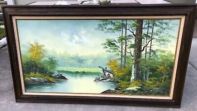 $ CDN423.34 • Buy Phillip Cantrell 24X48 River Landscape Painting In Cedar Wood Frame