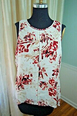 $ CDN16.34 • Buy White House Black Market Top Sz L Sleeveless Blouse Floral