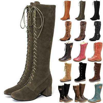 Women Winter Party Knee High Boots Long Stretch Lace Up Wide Calf Shoes Size UK • 26.59£