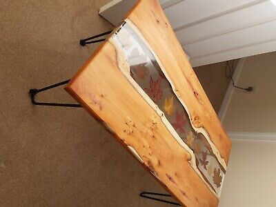 £485 • Buy Epoxy Resin Coffee Table Made From Yew And Autumn Leaves.