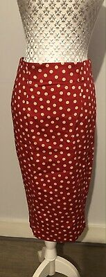 Kelly Brook New Look Red Polka Dot Pencil Skirt New Size 10 • 12.99£