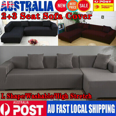 AU54.98 • Buy Stretch Elastic Couch Sofa L Shape Lounge Covers 3+2 Seater Cover Slipcover NEW