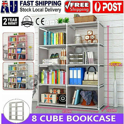 AU32.99 • Buy 8 Cube Storage Shelf Rack Bookcase Cabinet Organizer Bookshelf Book Display Unit