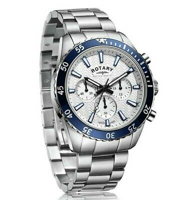 Rotary Mens Silver Dial Chronograph Blue Bracelet Watch Gents GB03100/06 • 76.49£