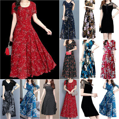 AU22.79 • Buy Women Floral Casual A-Line Midi Dress Ladies Short Sleeve Evening Party Dresses