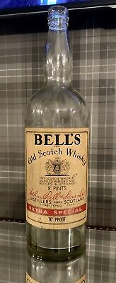 Antique Vintage Bells Scotch Whiskey Bottle Glass Saving Jar Upcycle Old Collect • 55£