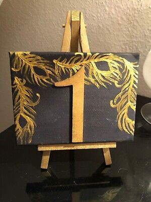 Handmade Canvas Wedding Table Numbers With Easel Navy/Gold 1-7 • 9.50£