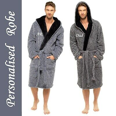 PERSONALISED Mens Gents Luxury Two Tone Fleece HOODED Dressing Gown Robe - GIFT • 34.99£