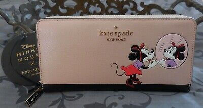 $ CDN127.53 • Buy Kate Spade ~Disney MINNIE Large Continental Leather Zip Wallet~PINK~NWT $239