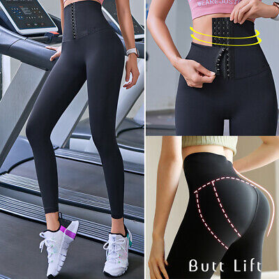 Womens High Waist Yoga Shaper Corset Leggings Butt Lift Sport Gym Fitness Pants • 7.98£