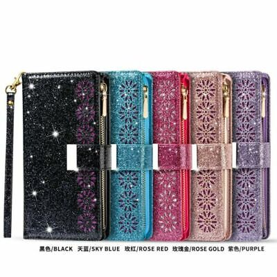 AU17.99 • Buy For IPhone 12 Pro 11 XS Max 7 8+ Bling Glitter Leather Zipper Wallet Case Cover