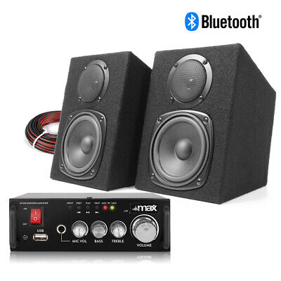 HiFi Speakers And Stereo Amplifier With Bluetooth & USB, Home Audio Music System • 79.99£