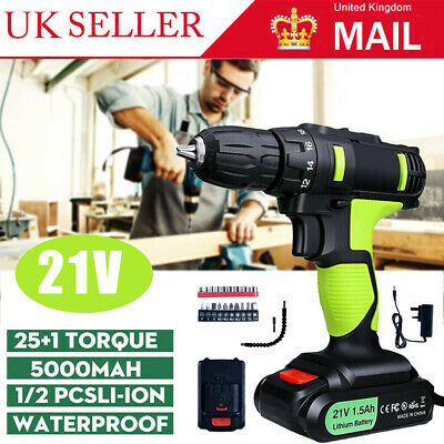 View Details 21V Cordless Drill Driver Electric Screwdriver Tool Set With 2 Lithium-Batteries • 32.99£