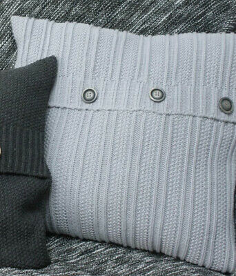 Knitted Button Cushion Cover GREY  45cmX45cm BNWT By Love My Urban Life • 8.50£