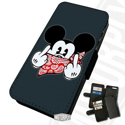 Printed Faux Leather Flip Phone Case For IPhone - Mickey-Red-Bandana-Rude • 9.75£