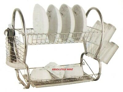 2 Tier Chrome Plate Dish Cutlery Cup Drainer Rack Drip Tray Plates Holder New • 9.25£