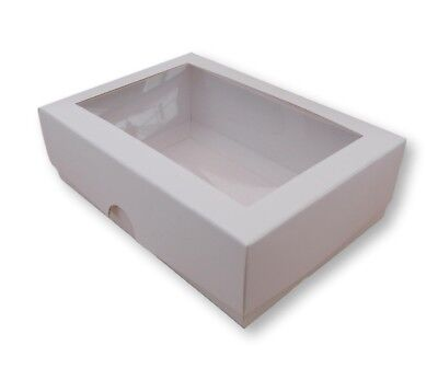 """£2.29 • Buy 1 WHITE 6.5 X 4"""" INCH BOXES WITH WINDOW, SMALL GIFT BOX,CAKE SLICE,BISCUIT,GIFTS"""