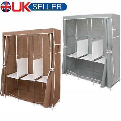 Portable Large Fabric Canvas Wardrobe Clothes Storage Rail Cover Cupboard 66  • 18.46£